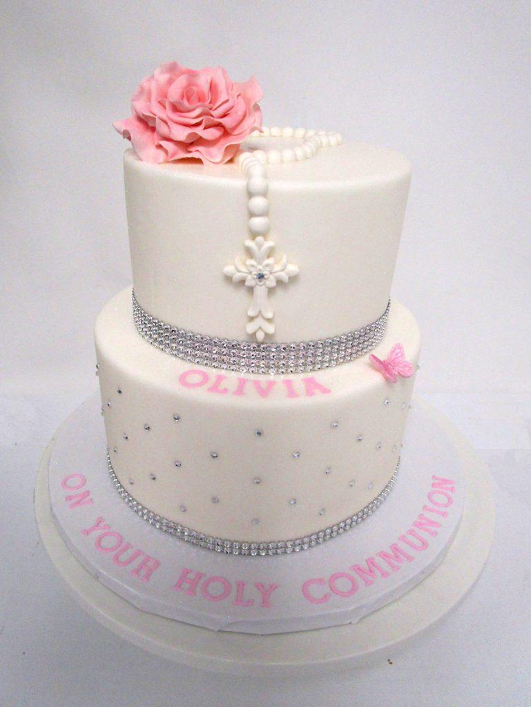 2-Tiered-White-Rosary-Diamond-Pearl-Cake