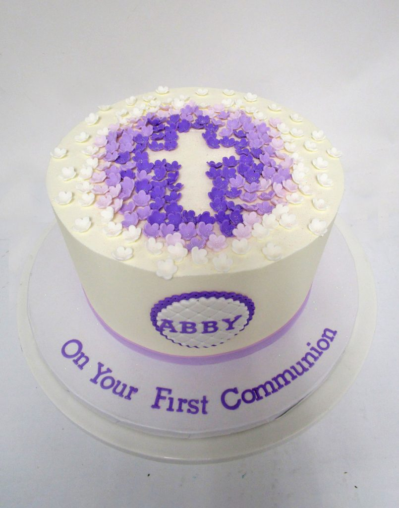 Purple-Floral-Cut-Out-Cross-Cake